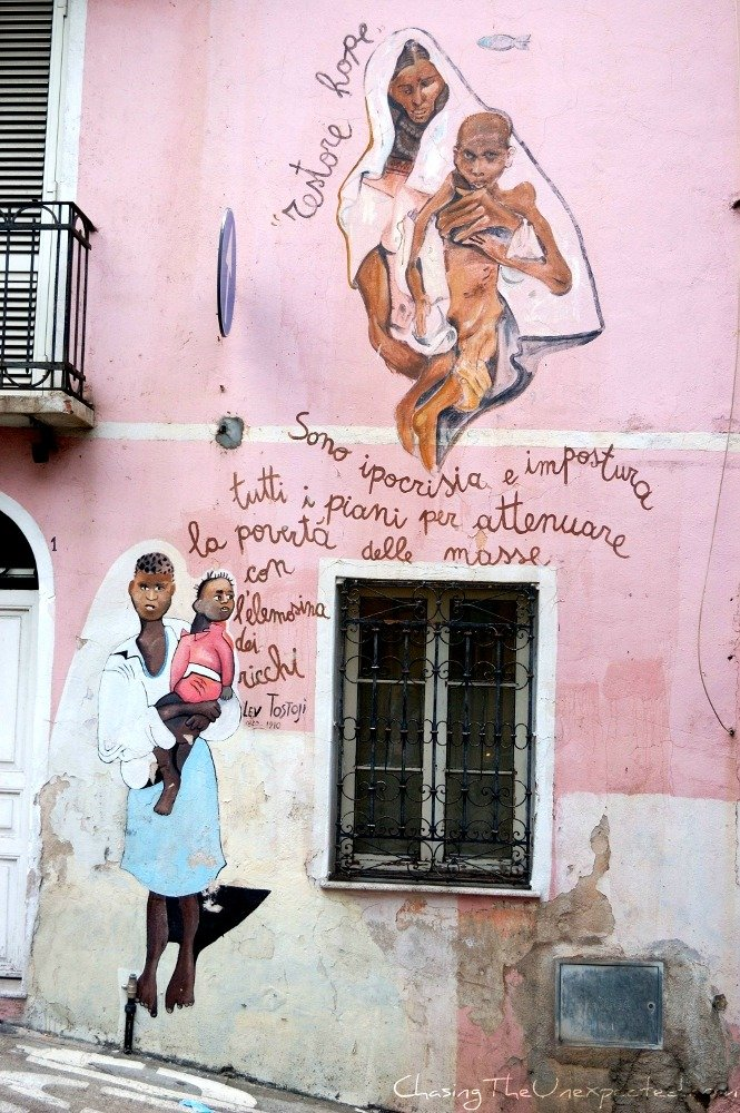 Orgosolo murals against poverty and hypocrisy