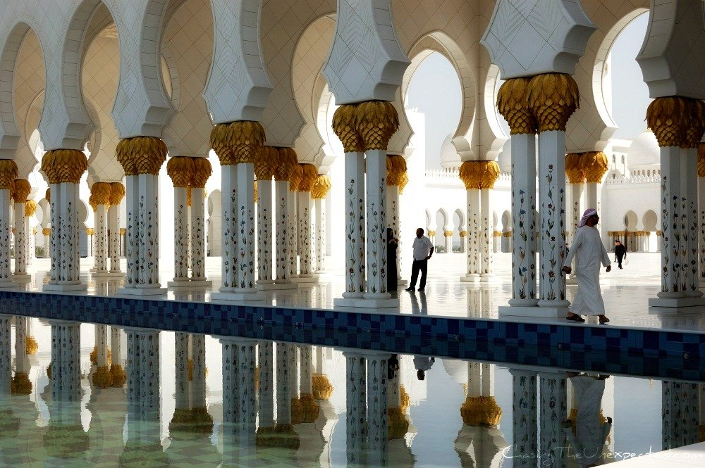 A trip, a photo - Reflection in Sheik Zayed Mosque, Abu Dhabi