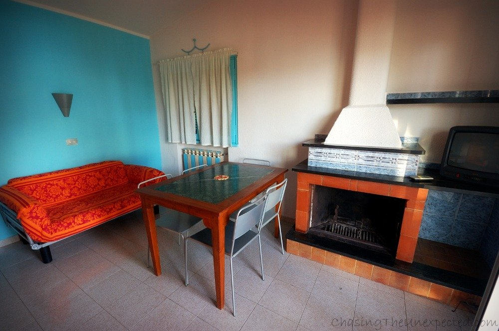 The dining room of one of the apartments