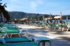 Chair-dotted Patong beach in Phuket