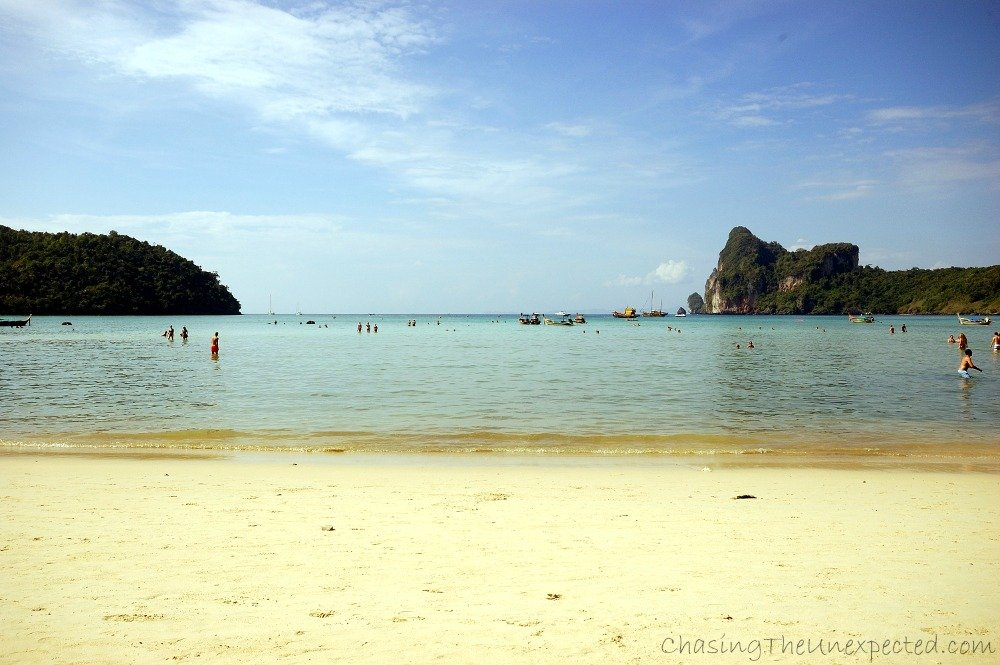 Tourists are starting to flock on the beach, usually crowds arrived around 10,30-11am every day with the first boats from Phuket.
