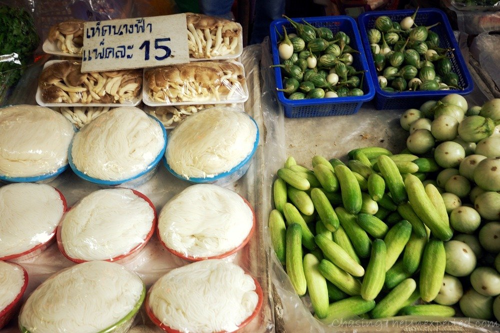 Some veggies and mushrooms, widely present in Thai cuisine, and probably some rice noodles