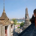 In Bangkok, enjoying the view with a monk