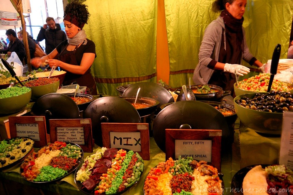 This was heaven, I came two Sundays on a row to Brick Lane market only because of this stall. Vegetarian Ethiopian, try their typical Ethiopian spongy bread as a pancake filled with sauces and beans, you'll thank me later