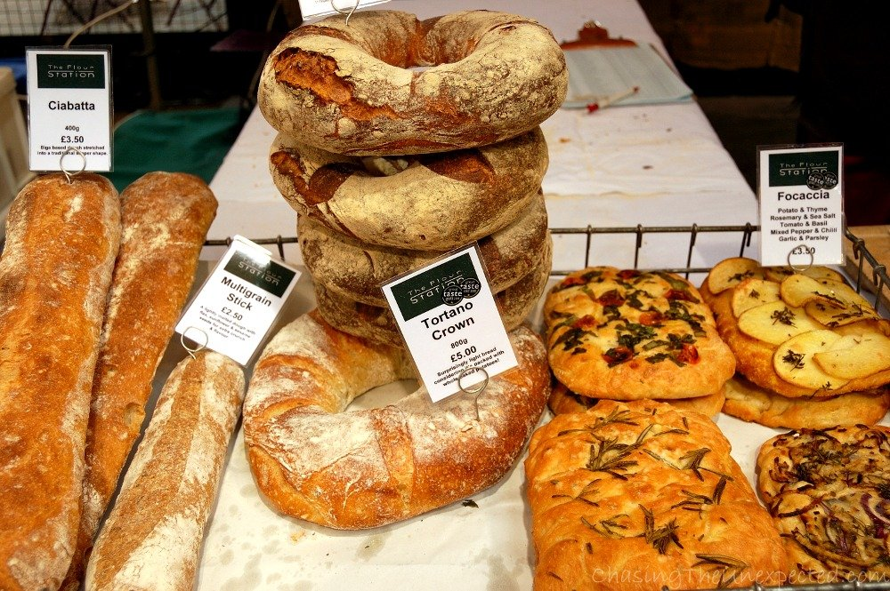 Bread and focaccia in different tastes, keeping drooling