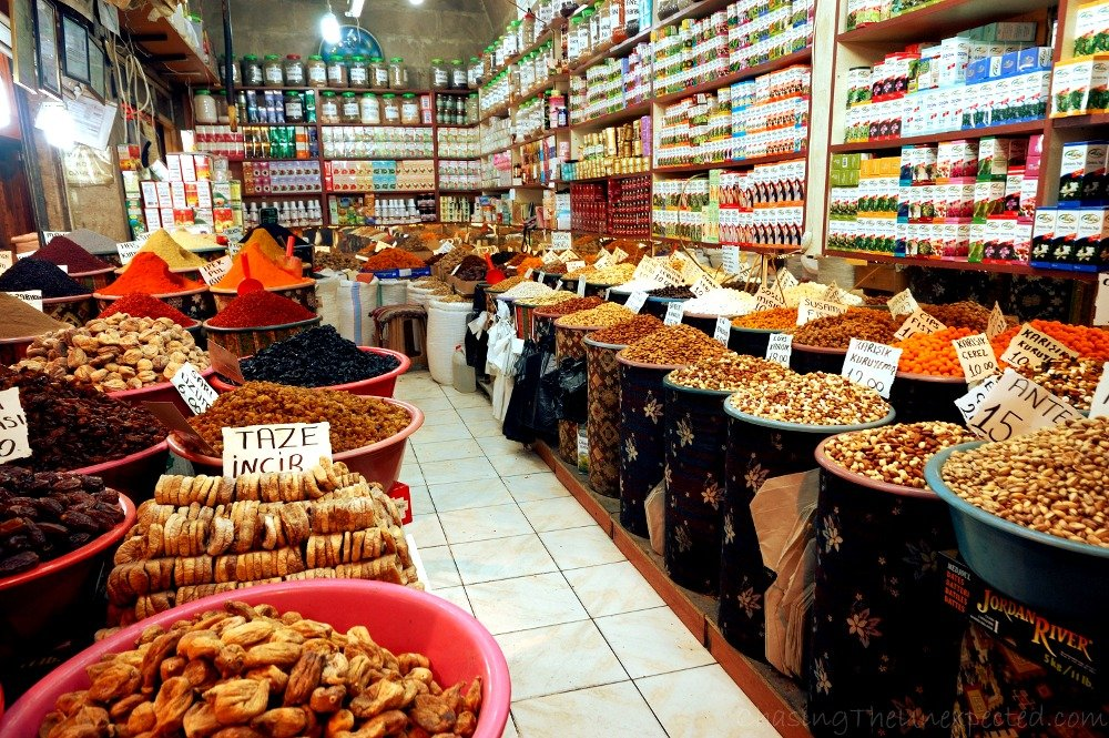 Spices, herbs and nuts in Kayseri bazaar.