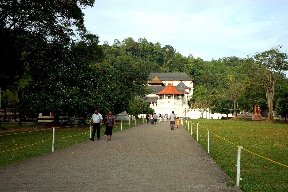 Entering the Tooth Relic Temple in Kandy