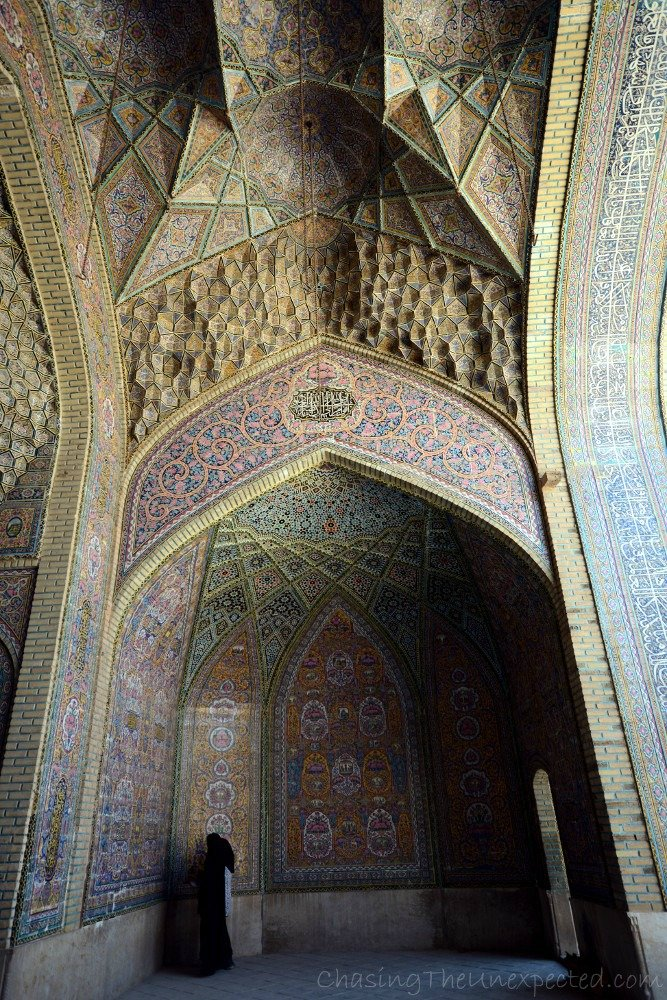 Students analyzing the decoration of Nasir Ul Molk mosque, also known as Pink Mosque in Shiraz.