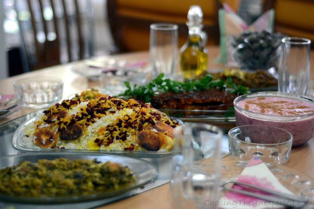 Traditional Iranian food in Lahidjan, Gilan province