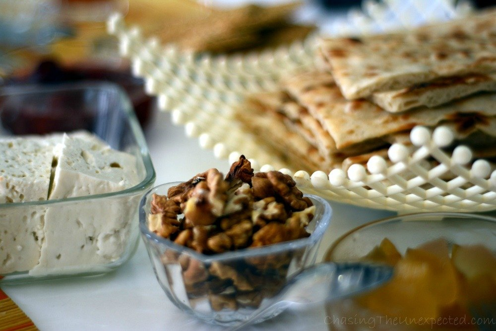Nuts and typical thin bread