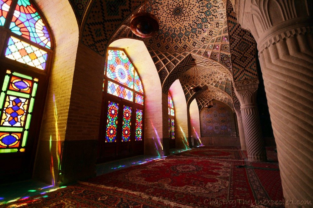 Fascinating kaleidoscope of lights inside Nasir al-Mulk mosque in Shiraz