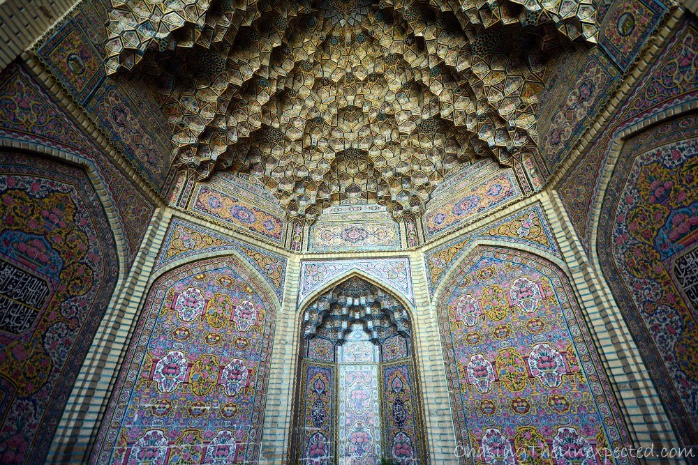 Pastel hues and fine art at Nasir ul-Molk mosque in Shiraz