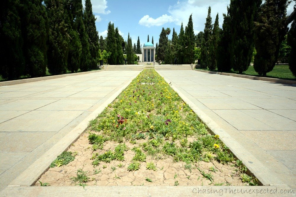 Saadi mausoleum at the end of a Persian garden