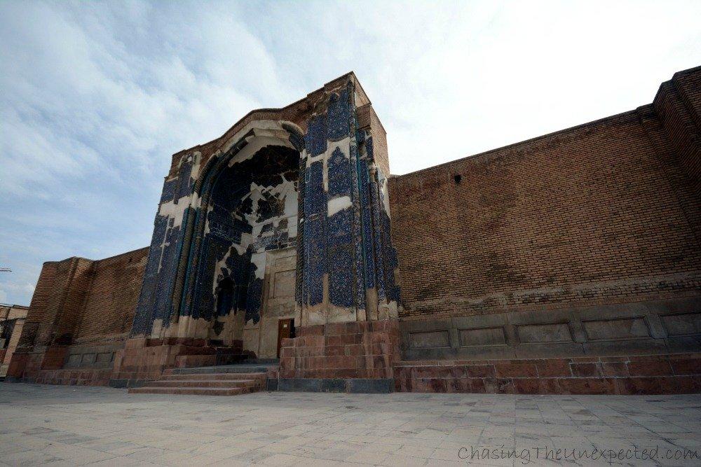 Facade of damaged Blue Mosque