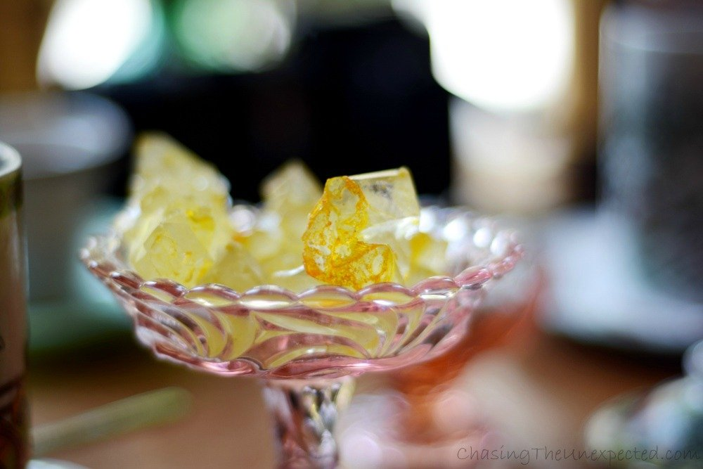 Saffron-infused nabat, Iranian rock candy used as a tea sweetener