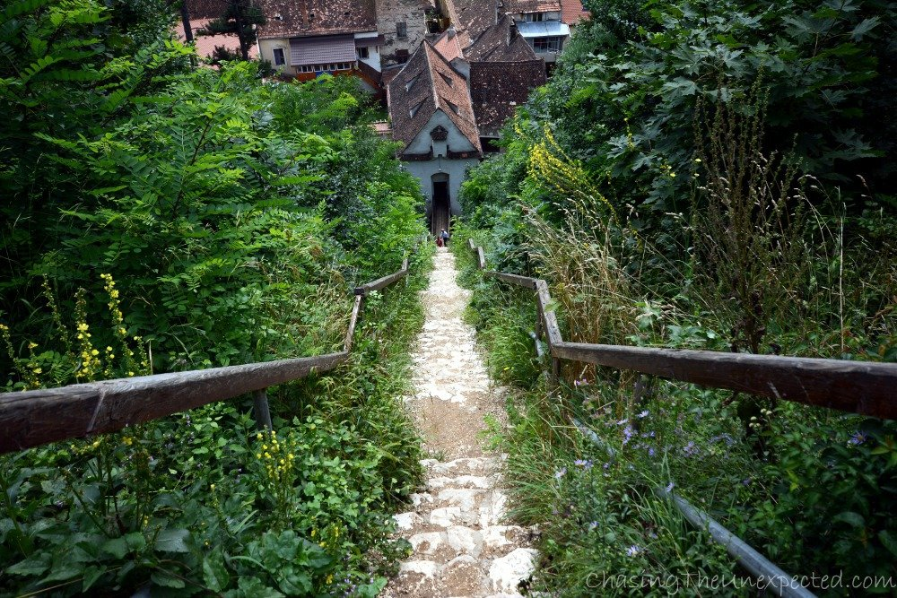 Descending into Brasov from its medieval citadel where the Black and the White Towers are located
