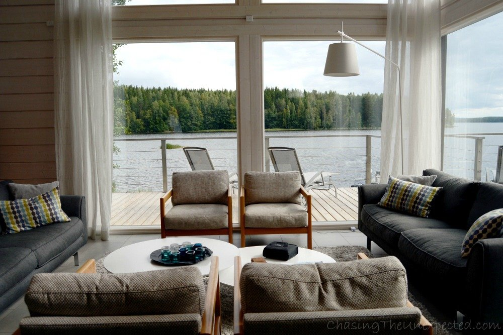 Our living room at Kiuasniemi's Vlla Jolla in Padasjoki, the view would have been enough to make it worth a trip!