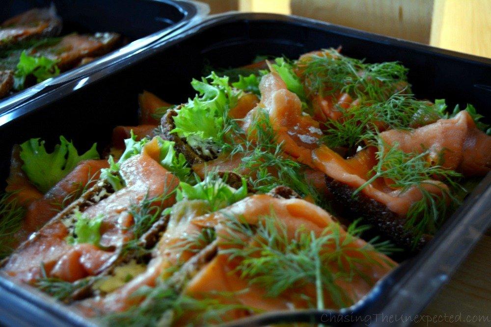 Delicious salmon on Finnish rye bread