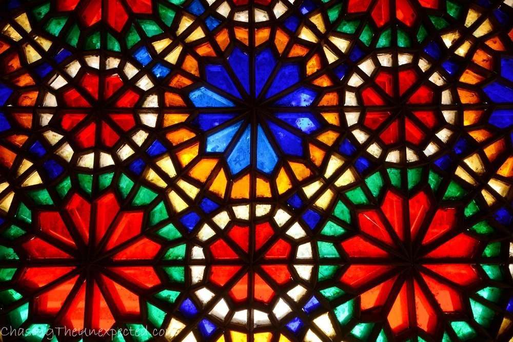 Stained glass decorations at Dolat Abad Garden's halls