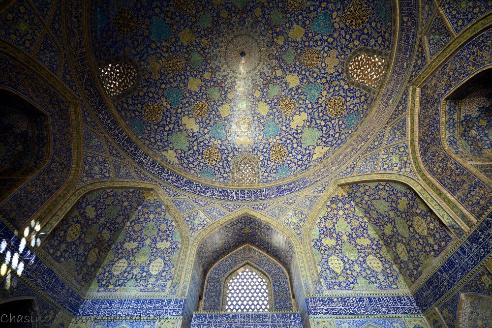 Ceiling decorations of Imam Mosque in Isfahan, Iran