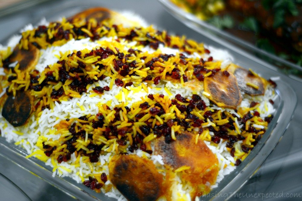 Mirza Ghasemi, like pretty much everything else in Iranian cuisine, is best had with delicious Zereshk Polo, saffron rice with sour cranberries.
