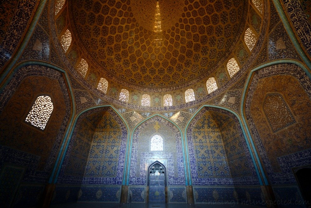 Ceiling with peacock tail embedded at Sheikh Lotfollah Mosque in Esfahan