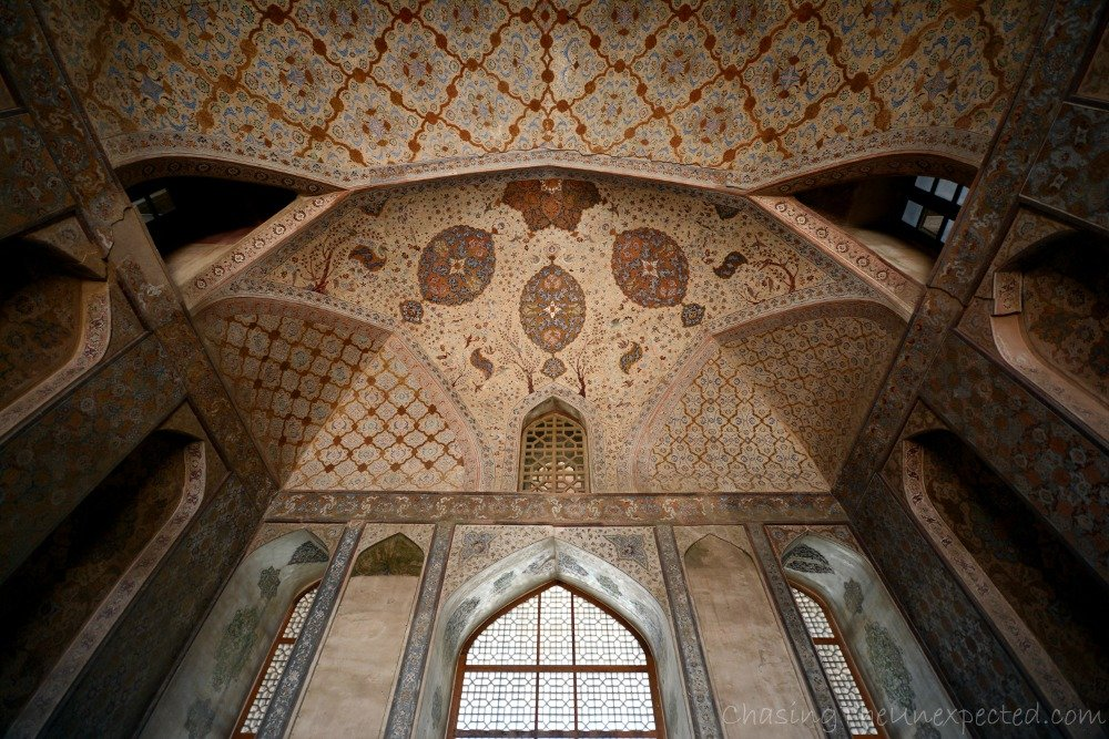 The intricate and beautiful decorations of Ali Qapu Palace in Isfahan, Iran