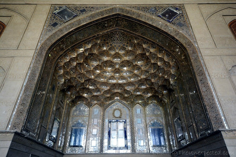 Wandering inside the pavilion of Chehel Sotoon Garden in Isfahan