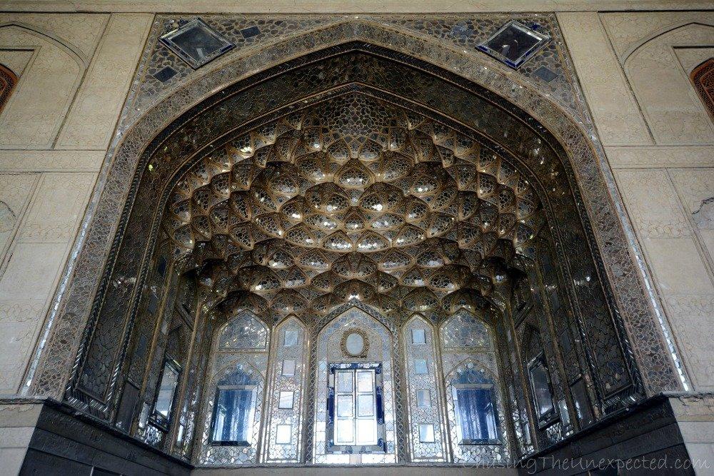 Wandering inside the pavilion of Chehel Sotoon Garden in Esfahan