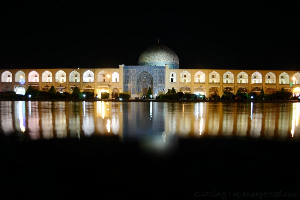 Sheikh Lotfollah Mosque lit up for the night.