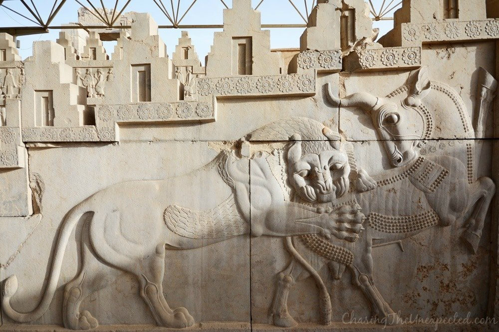 The lion taking over the bull, the sun taking over the cold season in Persepolis carvings