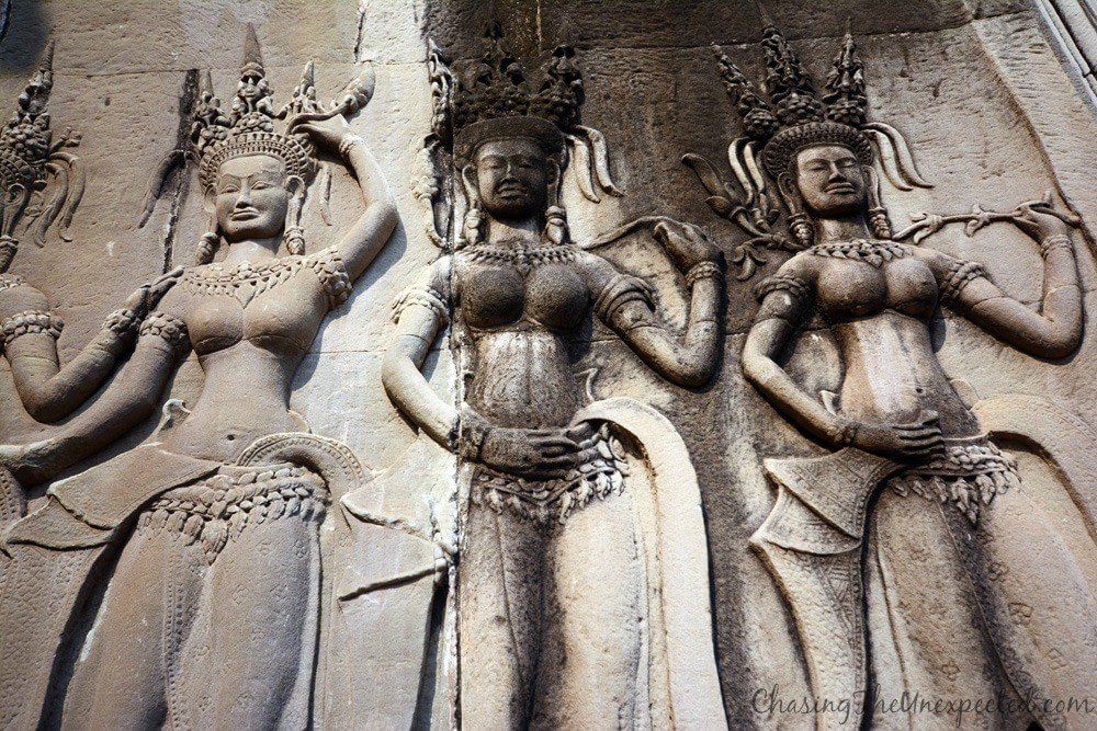 The beautiful, elegant and supernatural female figures of Apsaras, carved all around Angkor Wat temple