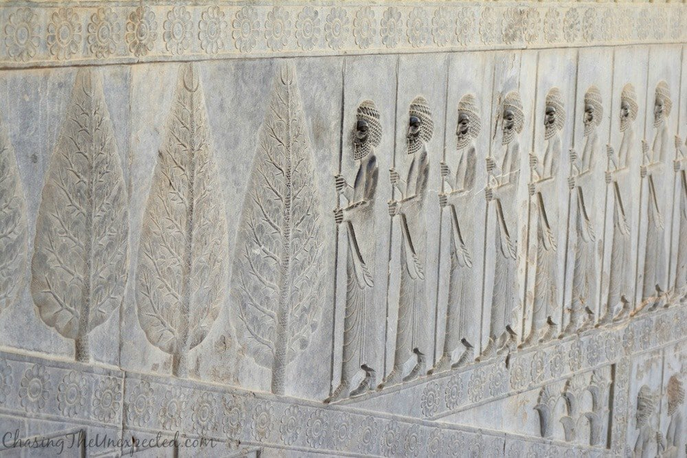 Cypress trees alongside the Immortals, Darius' royal guard, engraved in Persepolis' Apadana staircase
