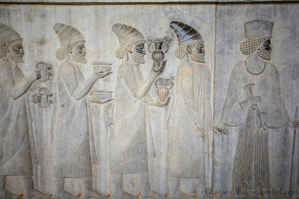 Dignitaries and officials ready to meet Darius the Great and bring him gifts in Persepolis