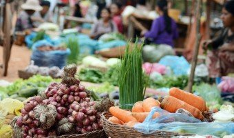 In Rolous, local market and daily life Cambodian style