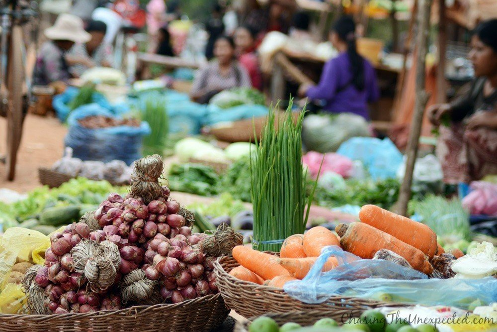 The freshness of Rolous market, typical Cambodian style