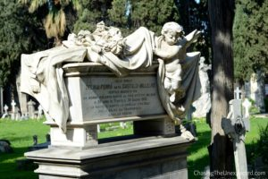 A finely decorated grave in Bonaria Monumental Cemetery, one of the top places to visit in Cagliari