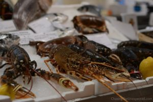 Lobster in Mercato San Benedetto market, one of the best places to see and eat affordable fish in Cagliari