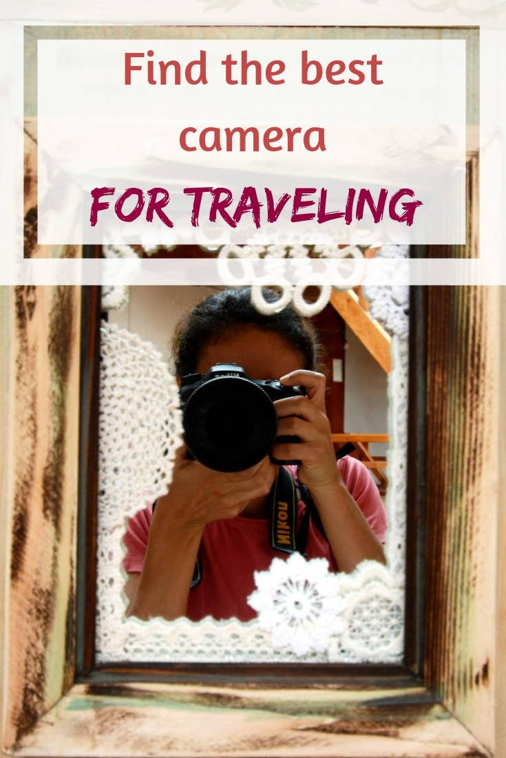 "Pinterest image with caption reading ""Find the best cameras for traveling"""