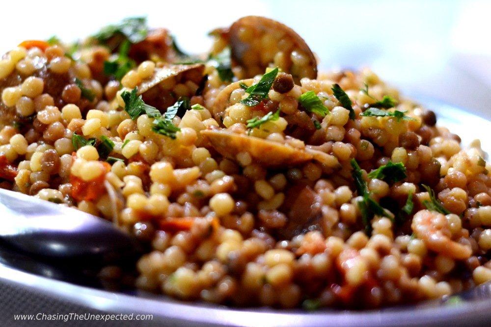 Sardinian Fregola pasta with seafood