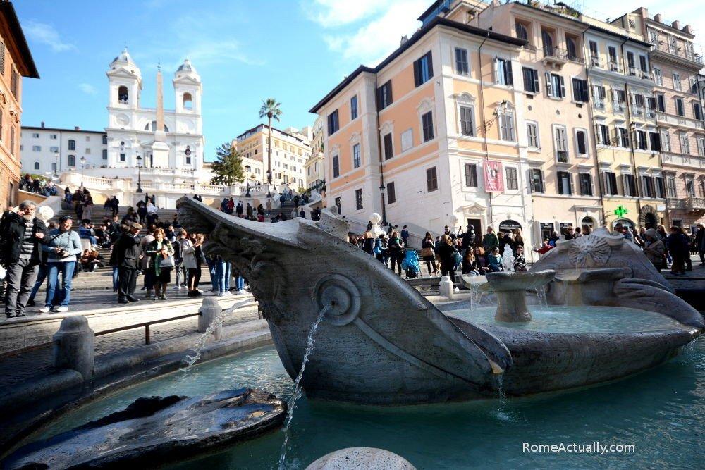 La barcaccia spanish steps rome