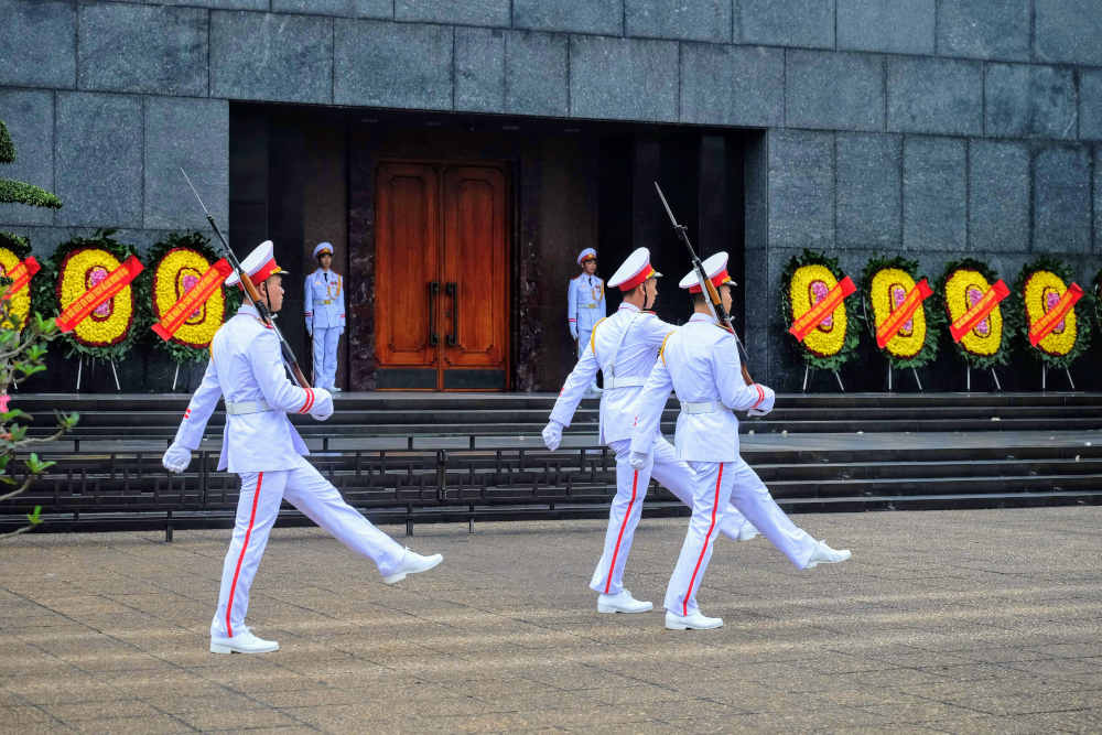 Image: Changing of the guard at Ho Chi Minh Mausoleum in Hanoi, Vietnam