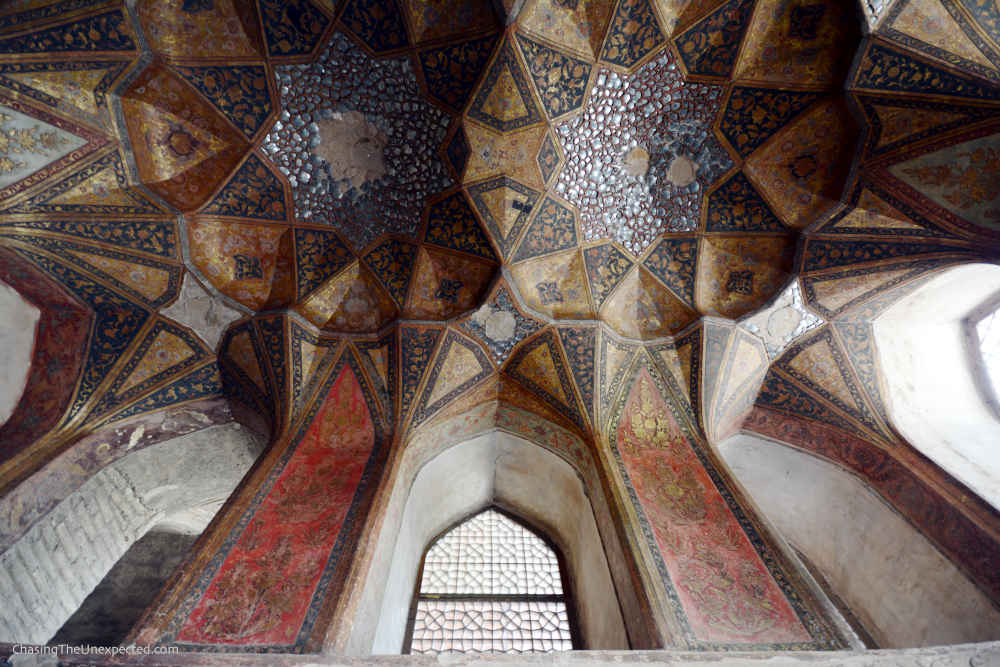 Image: Ceiling inside Hasht Behesht pavilion, one of the places to visit in Isfahan
